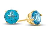 7x7mm Round Coated Paraiba Topaz Post-With-Friction-Back Stud Earrings style: E4043PAR10KY