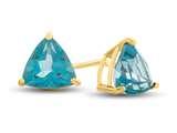 7x7mm Trillion Coated Paraiba Topaz Post-With-Friction-Back Stud Earrings style: E4044PAR14KY