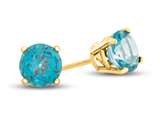 4.5mm Round Coated Paraiba Topaz Post-With-Friction-Back Stud Earrings style: E4501PAR10KY