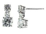 White Cubic Zirconia 6mm Post-With-Friction-Back Earrings
