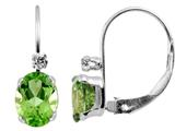 6x4mm Peridot and White Topaz Leverback Earrings
