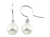 7.5mm White Freshwater Rice Pearl Fishhook Earrings