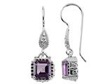 6x6mm Octagon Amethyst Fishhook Earrings