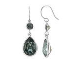 Color Craft™ 14x10 mm Pear Shape with 5mm Square Black Genuine Swarovski Crystals Drop Ear Wire Earrings