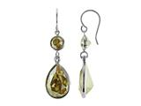 Color Craft™ 14x10mm Pear Shape with 6mm Round Golden Genuine Swarovski Crystals Drop Ear Wire Earrings