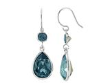 Color Craft™ 14x10mm Pear Shape with 6mm Round London Blue Genuine Swarovski Crystals Drop Ear Wire Earrings