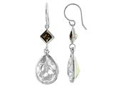 Color Craft™ 14x10 mm Pear Shape Clear with 5mm Square Smoky Color Genuine Swarovski Crystals Drop Ear Wire Earrings