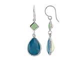 Color Craft™ 14x10 mm Pear Shape Caribbean with 5mm Square Opal Color Genuine Swarovski Crystals Drop Ear Wire Earrings