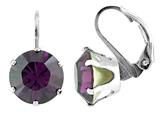 Color Craft 10.5mm Round Genuine Swarovski Crystal Amethyst Color Lever Back Earrings