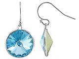 Color Craft™ 14mm Round Genuine Swarovski Crystal Aquamarine Color Drop Ball Ear Wire Earrings style: E7222SWAQ