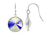 Color Craft 14mm Round Aurore Boreale Genuine Swarovski Crystal Drop Ball Ear Wire Earrings