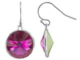 Color Craft 14mm Round Fuchsia Genuine Swarovski Crystal Drop Ball Ear Wire Earrings