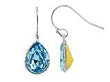 Color Craft 14x10 mm Pear Shape Light Blue Genuine Swarovski Crystal Aquamarine Color Drop Ear Wire Earrings