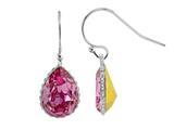 Color Craft 14x10 mm Pear Shape Rose Genuine Swarovski Crystal Ear Wire Earrings
