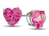 7x7mm Heart Shaped Created Pink Sapphire Post-With-Friction-Back Stud Earrings style: E7975CRPS14KW