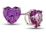 7x7mm Heart Shaped Simulated Alexandrite Post-With-Friction-Back Stud Earrings style: E7975SIMAL14KW