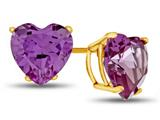 7x7mm Heart Shaped Simulated Alexandrite Post-With-Friction-Back Stud Earrings style: E7975SIMAL14KY