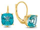 7x7mm Cushion Coated Paraiba Topaz Lever-back Earrings style: E8117PAR10KY