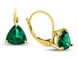 7x7mm Trillion Simulated Emerald Lever-back Earrings style: E8118SIME10KY
