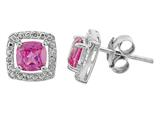 5x5mm Antique Shaped Created Pink Sapphire/ Diamond Post-With-Friction-Back Earrings