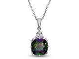 10x10mm Antique Shaped  Mystic Topaz and White Topaz Pendant- 18 Inch Rope Chain Included