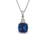 10x10 Antique Shaped Created Blue Sapphire and White Sapphire Pendant- Free 18 Inch Rope Chain Included