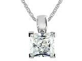7x7mm White Cubic Zirconia Antique Shaped Pendant with 18 Inch Chain