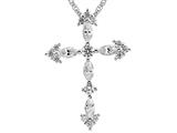 3mm White Cubic Zirconia Created  Antique Shaped Cross Pendant With 18 Inch Chain