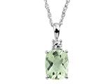 9x7mm Antique Shaped Green Quartz And White Topaz Pendant- 18 Inch Chain Included