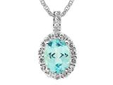 9x7 Oval Blue Topaz and White Topaz Pendant- Free 18 Inch Chain Included