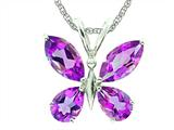 7x5 Antique Shaped Amethyst Butterfly Pendant with Rope Chain