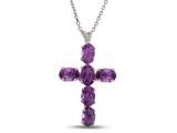6x4mm Oval Amethyst Cross Pendant- Free 18 Inch Chain Included