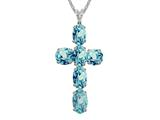 6x4mm Oval Created  Blue Topaz Cross Pendant - 18 Inch Chain Included