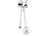 6mm 2 Drop Cultured Freshwater Pearl Pendant with Heart Shaped Top