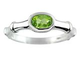 6x4mm Oval Peridot Bamboo Ring