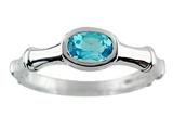 6x4 Oval Blue Topaz Bamboo Ring
