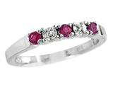 2.5mm Created Ruby And Diamond Band Ring