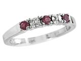 2.5mm Rhodolite and Diamond Band Ring