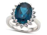 14x10mm Oval London Blue Topaz and White Topaz Ring