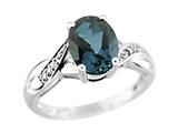 9x7mm Oval London Blue Topaz and Diamond Ring