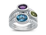 Amethyst, Peridot, and Blue Topaz Ring
