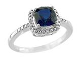 6x6mm Created Sapphire and Diamond Ring
