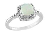 6x6mm Opal and Diamond Ring