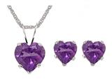 Antique Heart Shaped Amethyst Pendant and Earrings Set
