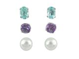 Blue Topaz, Amethyst, and White Freshwater Cultured Pearls Earrings Set style: S493MUL