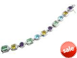 925 Sterling Silver 7.5 Inch Multi Stone Bracelet style: B3593SPMUL