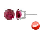5mm Round Stud Created Ruby Earrings - Red