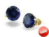 14k Yellow Gold 8mm Round Created Sapphire Stud Earrings