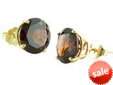 14k Yellow Gold 8mm Round Garnet Stud Earrings