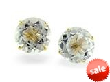 14k Yellow Gold 8mm Round White Topaz Stud Earrings